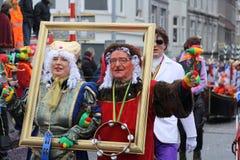 Karnevalgataaktörer i Maastricht Royaltyfria Foton