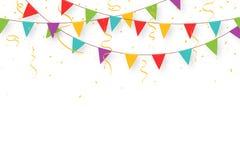 Karnevalgirland med flaggor, konfettier och band Dekorativa färgrika partistanderter för födelsedagberöm stock illustrationer