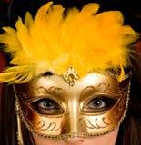 karnevalguldmaskering Royaltyfria Foton