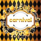 Karnevalinbjudankort med guld- symboler och objekt Berömpartibakgrund royaltyfri illustrationer
