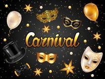Karnevalinbjudankort med guldmaskeringar och garneringar Berömpartibakgrund stock illustrationer