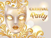 Karnevalinbjudankortet med den venetian maskeringen dekorerade guld- prydnader Berömpartibakgrund Royaltyfri Foto