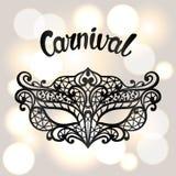 Karnevalinbjudankortet med svart snör åt maskeringen Berömpartibakgrund royaltyfri illustrationer