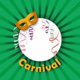 Karnevalmaskering med konfettier och banderoller Royaltyfri Foto