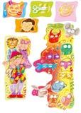 Karnevalmaskeringar med barnen har den förberedda och färgrika roliga tecknad filmdesignen för barndomböcker Arkivbild