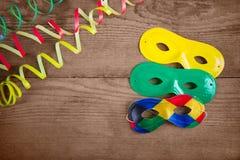 Karnevalmaskeringar på trä Fotografering för Bildbyråer