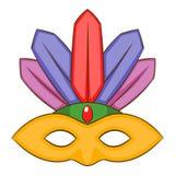 Karnevalmaskeringssymbol, tecknad filmstil Arkivbild