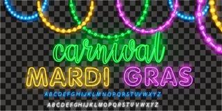 Karnevalparti i neonstil Realistiska isolerade pärlor för vektor för Mardi Gras för garnering och täcka på det genomskinligt royaltyfri illustrationer