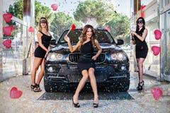 Karnevalparti på biltvätten Royaltyfri Foto