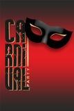 Karnevalparti som är skriftligt med den svarta maskeringen och guld Royaltyfria Foton