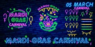 Karnevalpartiet är uppsättningen av affischer i neonstil neontecken, designmall, broschyr, glödande affisch Ljus neonannonsering  royaltyfri fotografi