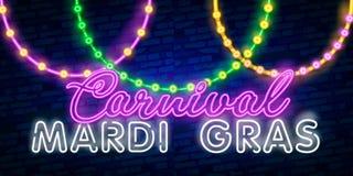 Karnevalpartiet är uppsättningen av affischer i neonstil neontecken, designmall, broschyr, glödande affisch Ljus neonannonsering  vektor illustrationer