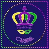 Karnevalplakat mit Text, Krone, Maske und Perlen Stockfoto