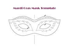 Karnevals-Stützen-Masken-Schablone, bedruckbare Linie Vektor Stockbilder