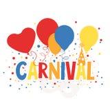 Karnevals-Zeichen mit Ballonen, Maske und Konfettis, Illustration Lizenzfreies Stockfoto