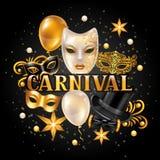 Karnevalseinladungskarte mit Goldmasken und -dekorationen Feierparteihintergrund Stockfotos