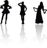 karnevalsilhouettes Arkivfoton