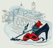 Karnevalsmaske mit einer Rosenblume vor dem hintergrund der Venedig-Häuser Vektor, der freihändige Illustration zeichnet vektor abbildung