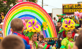 Karnevalsparade SANTA CRUZ, SPANIEN Stockbilder