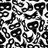 Karnevalsrio-Schwarzes maskiert nahtloses Muster eps10 der Ikonen Lizenzfreie Stockbilder