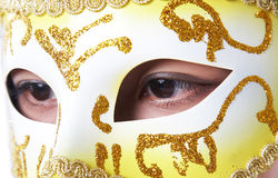 Karnevalsschablone auf Gesicht Lizenzfreies Stockbild