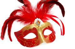 Karnevalsschablone mit den Federn getrennt auf Weiß Lizenzfreies Stockfoto