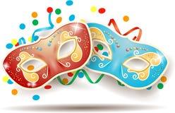 Karnevalsschablonen auf weißem Hintergrund Lizenzfreies Stockfoto