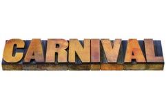 Karnevalswort in der Briefbeschwererholzart Stockbilder