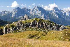 Karnische Alpen or Alpi Carniche to Alpi Dolomiti Royalty Free Stock Photography