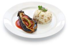 Karniyarik pilav, stuffed eggplant with pilaf, turkish cuisine Royalty Free Stock Photography