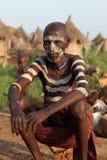 Karo bychef i södra Omo, Etiopien Arkivbilder