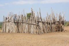 Karo, Ethiopia, Africa. Cattle guard, village of Karo people, Ethiopia, Africa Royalty Free Stock Images