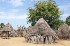Karo, Ethiopia, Africa. Traditional houses of Karo people, Ethiopia, Africa Stock Photos