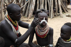 Karo people. Live near Omo river Stock Photos