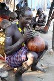 Karo warrior in South Omo, Ethiopia Royalty Free Stock Image