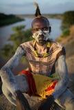 Karo warrior in South Omo, Ethiopia Royalty Free Stock Photo