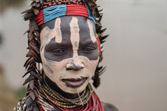 Karo woman from the village of Kolcho Stock Images