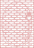 Karoke Brick Wall Background. A red line drawing of a karaoke microphone set against a red brick wall Stock Photos