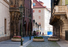 Karolinum - medieval Prague University founded in 1348, street view Stock Images