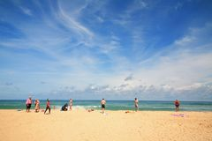 Karon海滩的,普吉岛外国游人 库存照片
