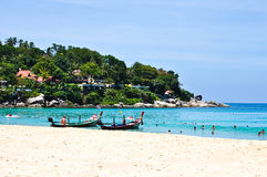 Karon Beach Phuket Thailand on April 2010. The beach of phuket thailand is buetifull and the most pupular world wide come to here for travel and relaxation for Stock Photo