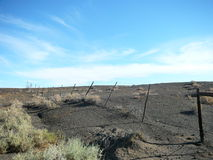 Karoo fence. The Tankwa Karoo is all about dry  open space in the middle of nowhere Stock Images