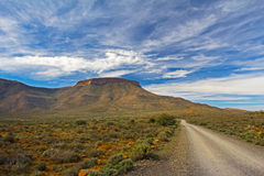 Karoo Mountain Landscape with Blue Sky and Road Stock Photos