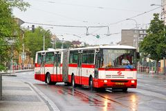 Karosa B941E. PRAGUE, CZECH REPUBLIC - JULY 21, 2014: Articulated city bus Karosa B941E at the city street Stock Photography