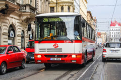 Karosa B931E. PRAGUE, CZECH REPUBLIC - JULY 21, 2014: City bus Karosa B931E at the city street Royalty Free Stock Image