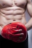 Karosserie des Muskelmannes in der Gymnastik Stockfoto