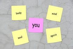 Karosserie, Verstand, Seele, Spiritus und Sie stockbild