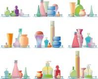 Karosseriensorgfaltprodukte auf einem Glasregal stock abbildung