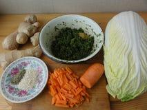Karotte mit Kohl und dem Grünkochen Lizenzfreies Stockbild