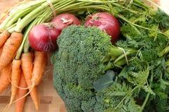 Karotten, Brokkoli, rote Zwiebeln Lizenzfreie Stockfotos
